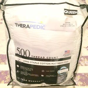 Therapedic 500-Thread Count Queen Mattress Pad
